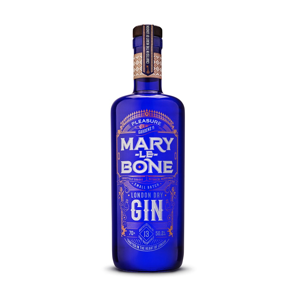 Mary le Bone gin is crafted in England with 13 internationally sourced botanicals.