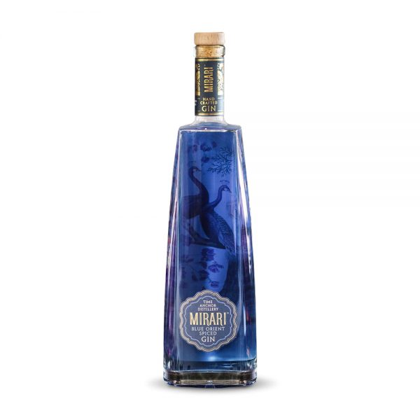 Mirari Blue Orient Spiced gin is infused with blue pea flowers and produced in Gauteng, South Africa.