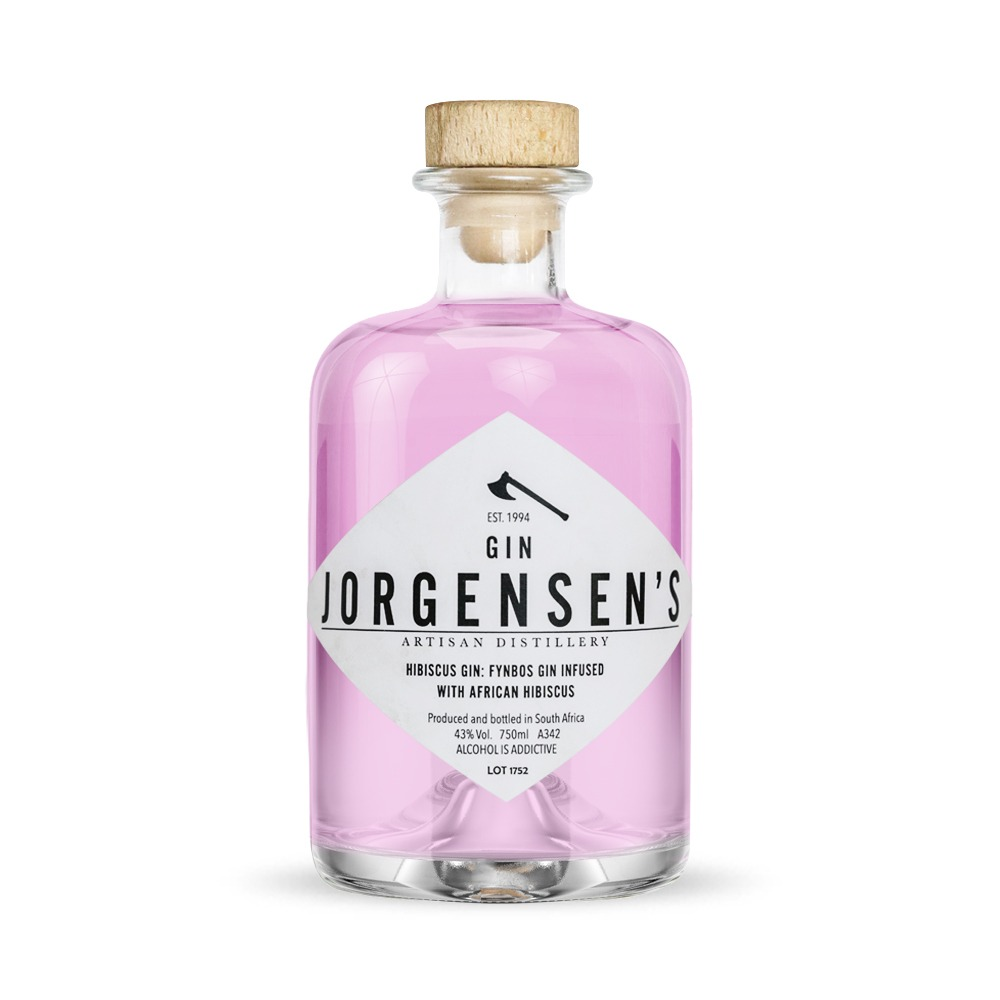Jorgensen's Hibiscus gin is infused with hibiscus and produced in the Western Cape