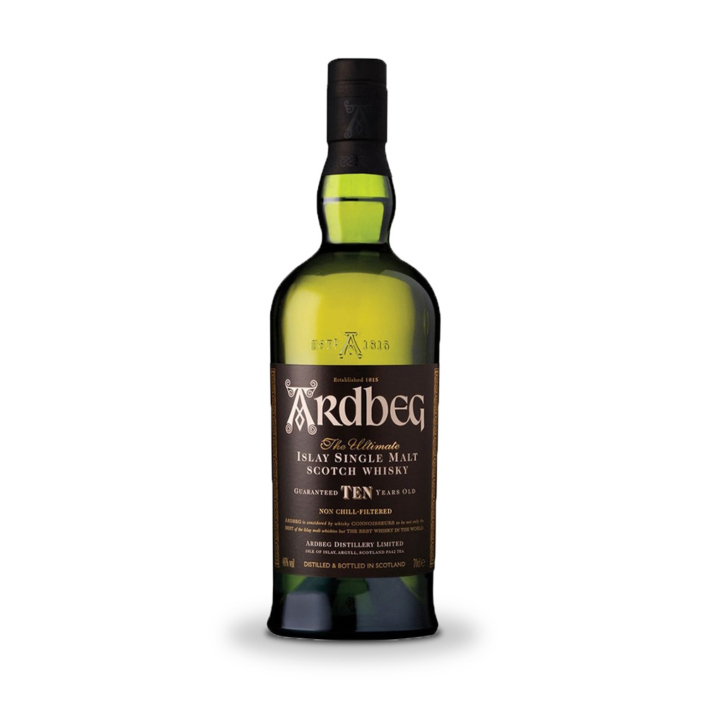 Ardbeg 10 year old Scotch whisky is produced in Scotland.