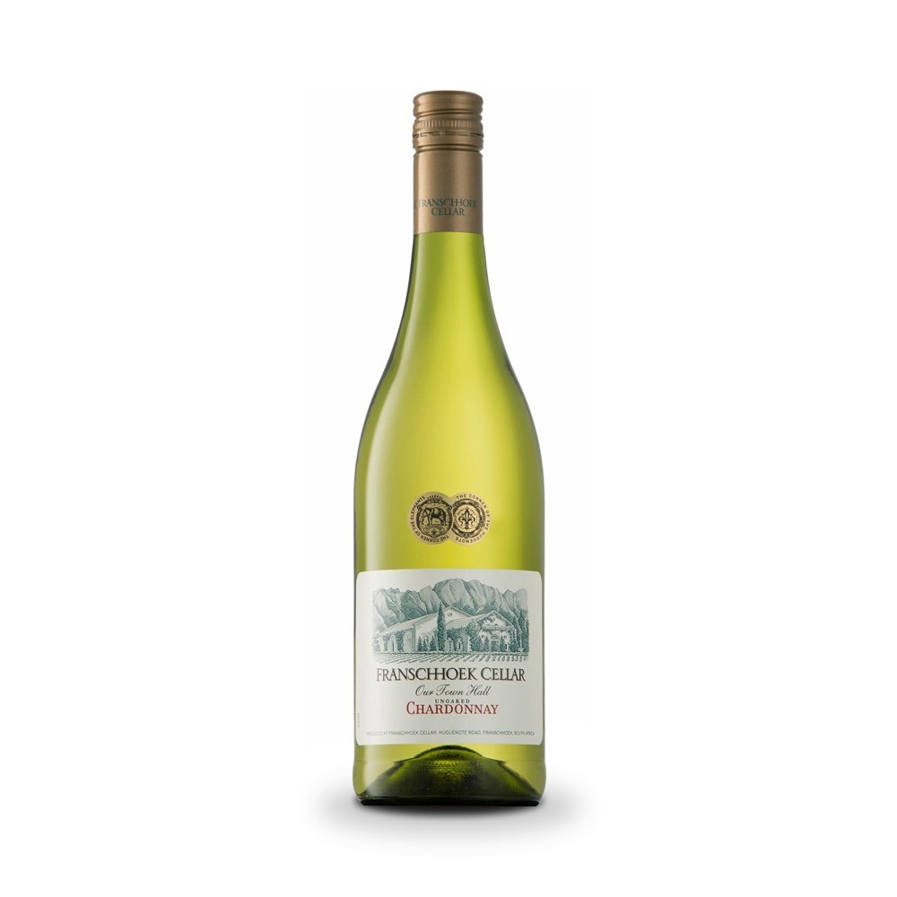 Franschhoek Cellar Unoaked Chardonnay is produced in South Africa.