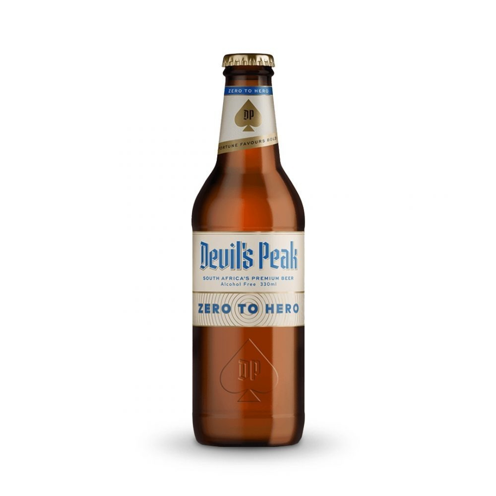 Devils Peak Zero to Hero Non-Alcoholic beer is produced in South Africa.