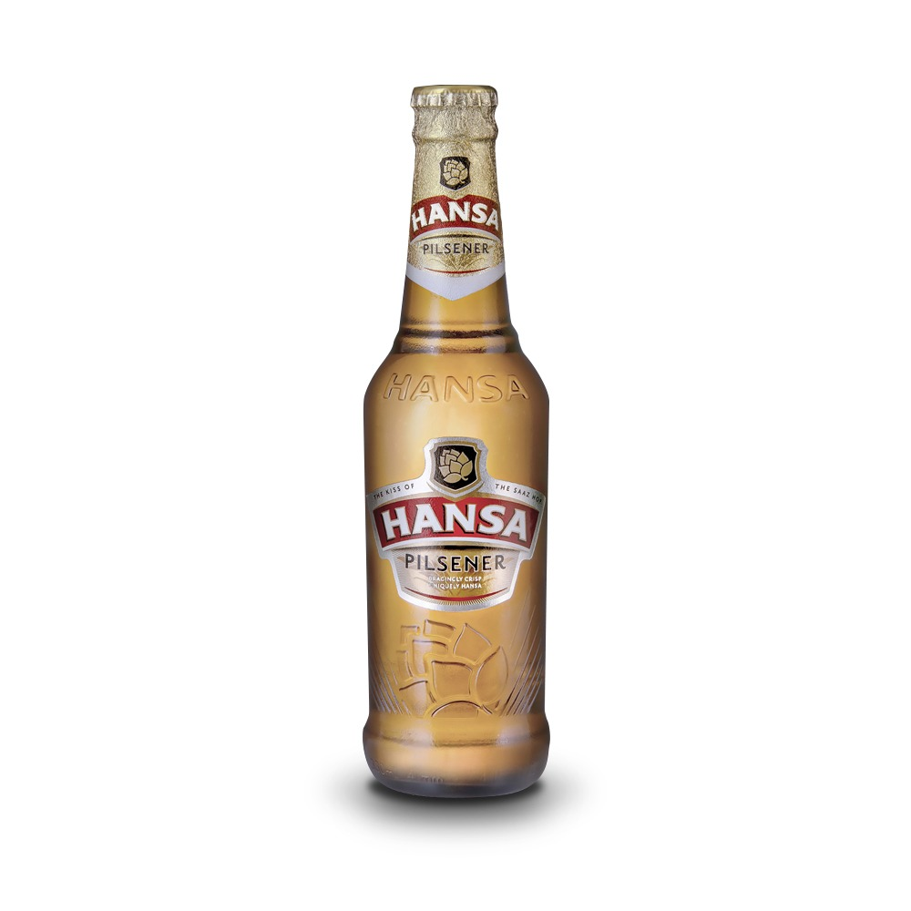 Hansa Pilsener beer is produced in South Africa.