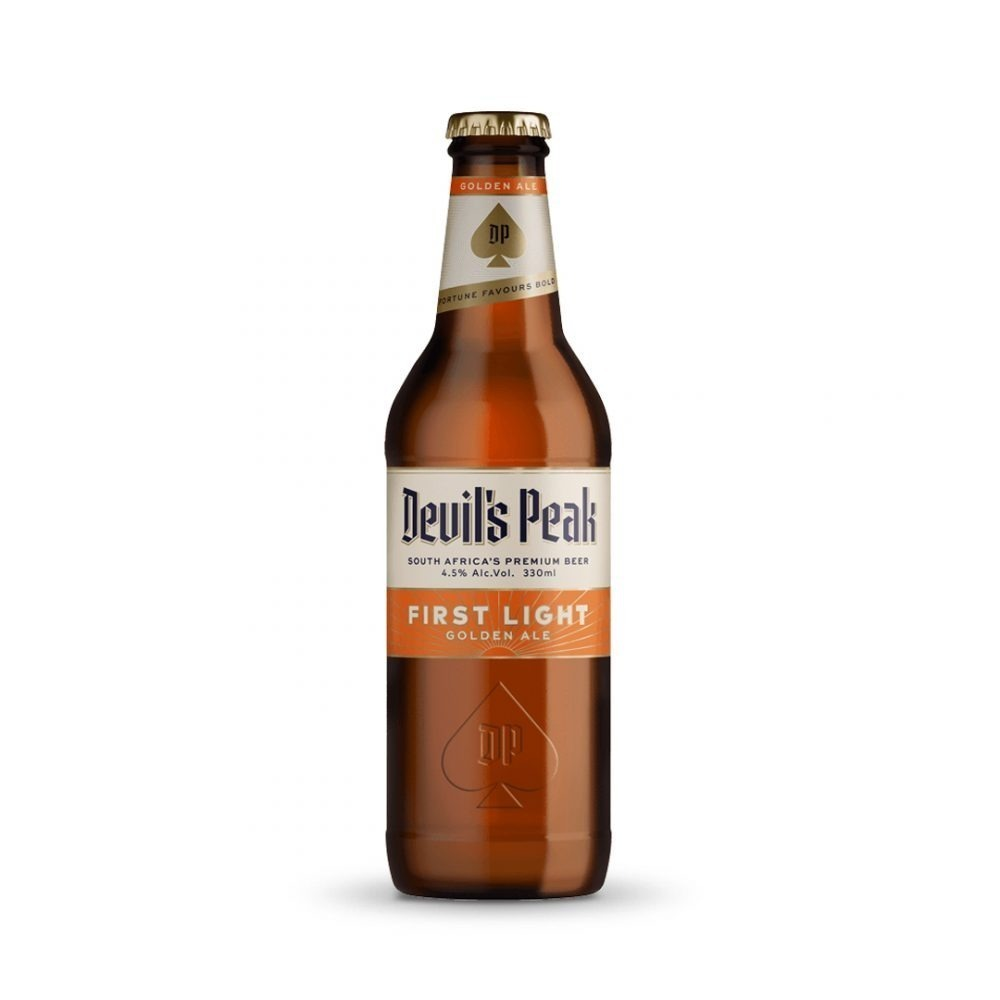 Devils Peak First Light Golden Ale craft beer is produced in South Africa.